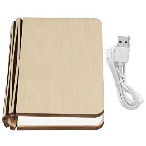 Lámpara de luz de noche de escritorio plegable LED portátil de luz de libro de madera magnética USB para el hogar(Arce blanco)