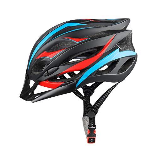 DesignSter Integrierter Fahrradhelm mit LED-Sicherheitslicht, Verstellbarer Fahrradhelm mit abnehmbarem Visier/Ersatzfutter, atmungsaktiver Helm für Rennradfahrer und Mountainbiker