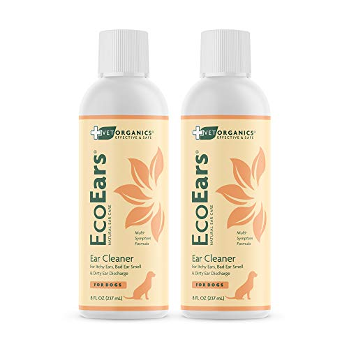 Vet Organics Dog Ear Cleaner. Natural Multi-Symptom Formula. for Itch, Head Shaking, Discharge & Smell. Naturally Cleanses Away Common Problems. 100% Guaranteed. | EcoEars 2 Pk