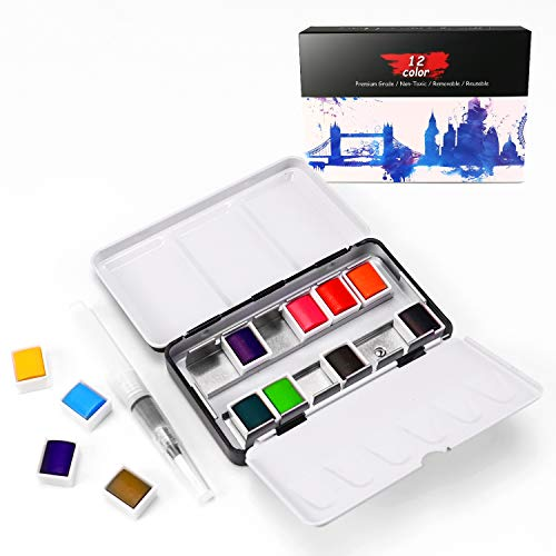 Augtarlion Watercolor Paint Set Removable Watercolor Paint Kits with Metal Ring and Watercolor Brush Pen for Students, Adults, Kids, Beginners Professional Painting Supplies with Palette (12 Colors)