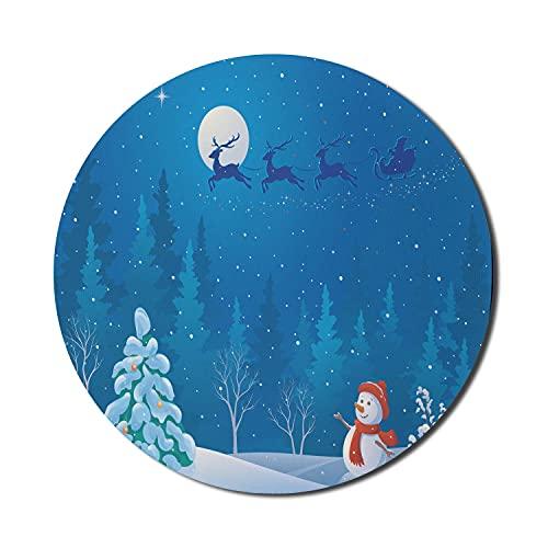 Schneemann-Mauspad für Computer, Grafiken einer Winterszene im Freien in der Nacht Santas Schlitten fliegen, rundes rutschfestes dickes Gummi Modernes Gaming-Mousepad, 8 'rund, mehrfarbig