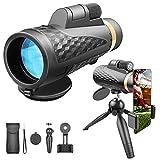 GDZTBS Monocular Telescopio, 18x62 HD Starscope Monocular con Soporte para Smartphone y trípode, telescopio Starscope Monocular para observación de Aves, Camping, Viajes, Caza, Juegos de Pelota.