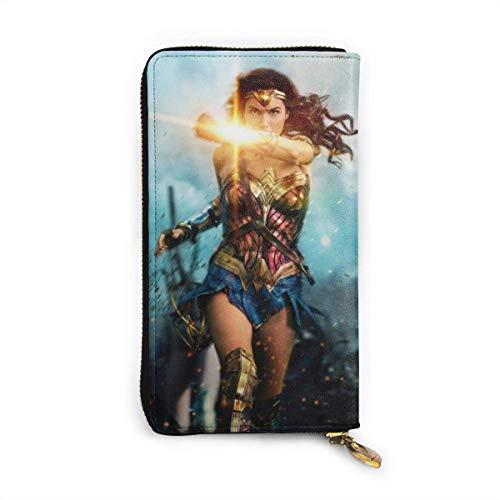 XCNGG Cartera de Wonder Woman con Bloqueo RFID de Cuero Genuino con Cremallera Alrededor de Las Carteras Monedero de Viaje Alrededor del Tarjetero Organizador Bolso de Mano