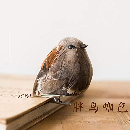 FGHHJ Figurilla Estatuas Adornos Pinza Decorativa para Adorno De Pájaros Nido De Pájaro Nido De Pájaro Pájaro Huevo Pluma Broche De Pájaro Pájaro Gordo Americano Color Café