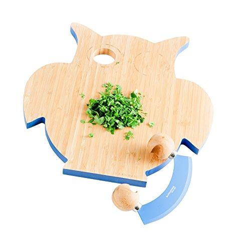 brandani 55413 tagliere gufo bamboo con mezzaluna antiaderente acciaio inox CM 33X31