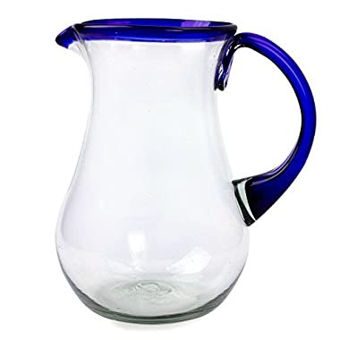 NOVICA Artisan Crafted Blue Accent Clear Glass Recycled Hand Blown Pitcher From Mexico, 82 oz, Blue Grace'