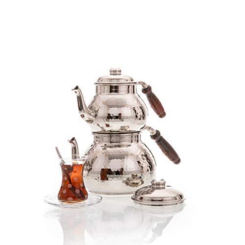 Erotto Orientalisch gehämmert handgefertigte Kupfer Teekanne/Teekocher (Silber)