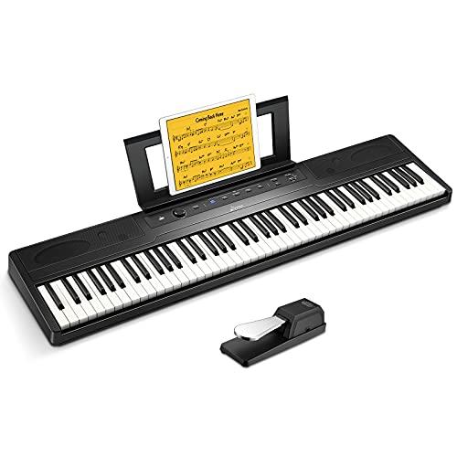 Donner 電子ピアノ 88セミウェイト鍵盤 ワイヤレスMIDI機能 タッチレスポンス調整 軽量 サステインペダル付き 初心者向け 日本語取扱説明書 PSE認証 ブラック DEP-45