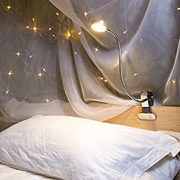 Eyocean LED Reading Light Dimmable Clamp Light for Bed Headboard Bedroom Office 3 Modes & 9 Dimming Levels Flexible Clip Desk Lamp Adapter Included 5W Silver