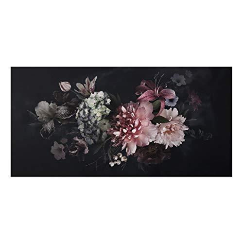 Bilderwelten Spritzschutz Glas Küchenrückwand - Blumen mit Nebel auf Schwarz 59 x 120cm