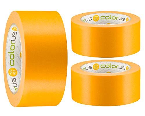 3 x Colorus Premium Maler-Goldband PLUS Soft Tape Klebeband 50 mm x 50m   Malerband-Klebeband für extrem scharfe Kanten beim Streichen und lackieren   Washi Tape Malerband Gold Innen und Außen