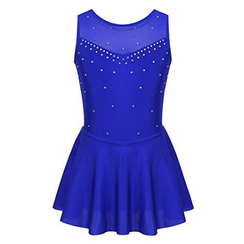 Mufeng Vestido de Leotardo de Color Sólido sin Mangas para Niñas Maillot Patinaje Artístico Baile Disfraz Bailarina con Volantes Gimnasia Azul A 7-8 años