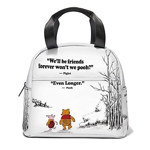 QQIAEJIA Winnie the Pooh White Winnie the Pooh White Lunch Bag Wiederverwendbare Bento Lunchbox Große Kapazität für Männer Frauen Büro Outdoor Picknick Sport