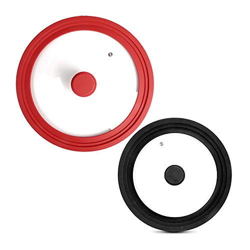 Universal Lids for Pots and Pans, Skillet Lids- Silicone Smaller Lid Fits All 7 to 9 Inch Pots and Pans - Silicone Larger Lid Fits 10 to 12 Inch Pan Lid Pot Lid PACK OF 2 Black & Red