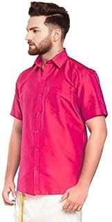 SJS-Men's Half Sleeve Solid Art Silk Shirt (Pink Red, 36)