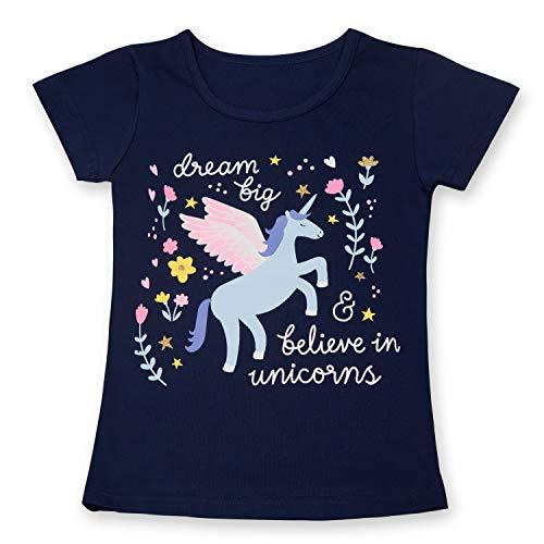 TTYAOVO Camiseta de Algodón Unicornio para Niñas, Camiseta de Manga Corta para Niños Camiseta de Impresión Unicornio Lindo Tamaño 3-4 Años Unicornio-Azul Profundo