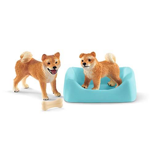 Schleich 42479 Farm World Spielset - Shiba Inu Mutter und Welpe, Spielzeug ab 3 Jahren