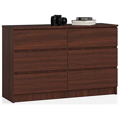 ADGO Cómoda moderna K120 con 6 cajones, 120 x 40 x 77 cm, para dormitorio, salón, salón, salón, salón, color mate (envío en 2 paquetes)