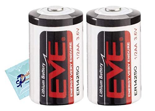 2 Stück Lithiumbatterien 14250 von EVE 1200 mAh 3,6 Volt 1/2 AA - bis 10 Jahre Lagerfähigkeit inkl. 1 x Reinigungstuch von SP Großhandel Gratiszugabe (2)