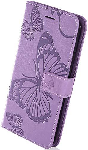 Herbests Kompatibel mit Huawei Mate 10 Pro Lederhülle Handyhülle Schutzhülle Ledertasche Wallet Hülle Schmetterling Klapphülle Stoßfest Handytasche Flip Tasche Stand Kartenfächer,lila