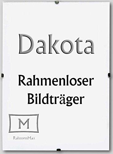 Rahmenloser Bildhalter Dakota. Anfertigung Nach Maß. Hier: 41 x 51 cm mit 1 mm Acrylglas Antireflex