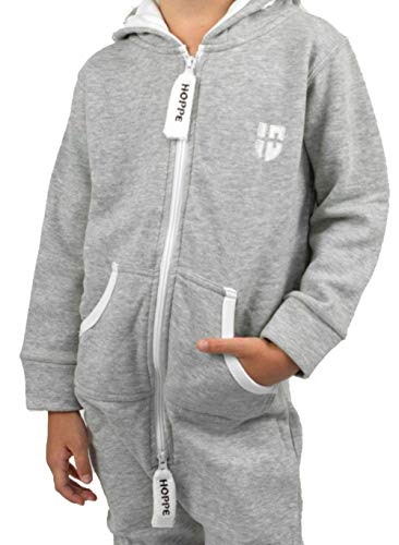 Gennadi Hoppe Kinder Jumpsuit Overall Jogger Trainingsanzug Mädchen Anzug Jungen Onesie,hell grau,7-8 Jahre - 3