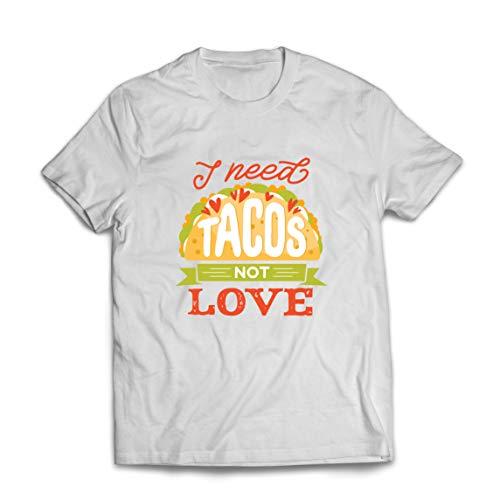lepni.me Camisetas Hombre Necesito Tacos No Me Gusta La Comida Mexicana Graciosa Cotización de Comida (Large Blanco Multicolor)