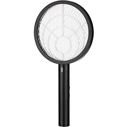 Teniswatter Electric Bug Zapper Fly Swatter Zap Mosquito Indoor Outdoor Pest Control, 4000V Grid Usb Rechargeable Led Lighting 3 Layers Mesh, Black