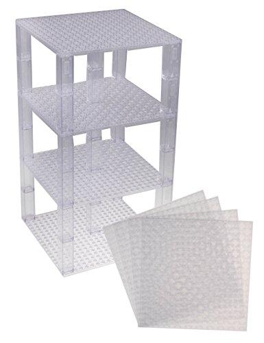 Pack de 4 Bases con Ladrillos separadores 2 x 2 - Construcción en Forma de Torre - Compatible con Todas Las Marcas - 15,24 x 15,24 cm - Transparente
