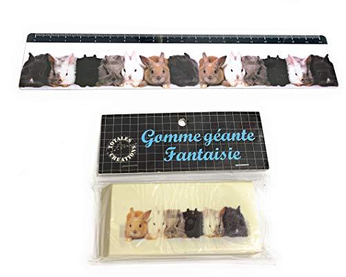 Totales Créations - Lote de una regla de plástico flexible de 20 cm + una goma gigante de 8,5 cm de conejos