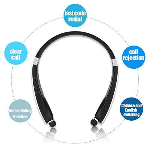 Topiky Draadloze Bluetooth hoofdtelefoon, draagbaar, opvouwbaar, nekhangende muziek, headset met ruisonderdrukking, 16 - uur, speelduur, voor binnen en buiten, sporten enz, zwart-wit