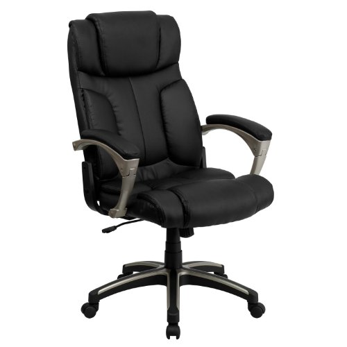 Flash Furniture High Back Folding Black LeatherSoft Executive Swivel Office Chair with Arms, BIFMA Certified