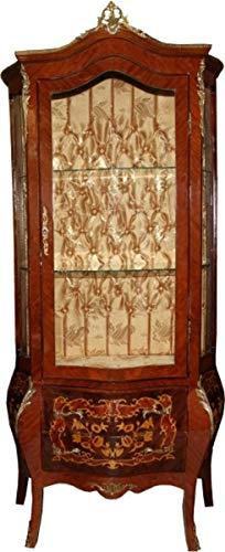 Casa Padrino Barock Vitrine Model Mahagoni Braun/Gold H 180 cm, B 88 cm - Vitrinenschrank - Wohnzimmerschrank