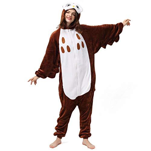 Katara 1744 (30+ Designs) Vogel-Kostüm Eule, Unisex Onesie/ Pyjama-Qualität für Erwachsene & Teenager