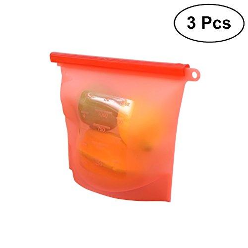 Yardwe 3pcs 1000ml Sac de stockage des aliments en silicone sac de cuisson hermétique de récipient de stockage pour fruits viande lait rouge