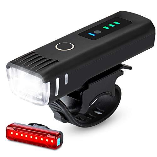IPSXP Luz Bicicleta Recargable USB,Detección automática luz Delantera LED de la Bici, 4 Brillo Modos, con 1 roja luz de la Cola,Luz de Bicicleta a Prueba de Agua,Conveniente para Acampar Ciclistas