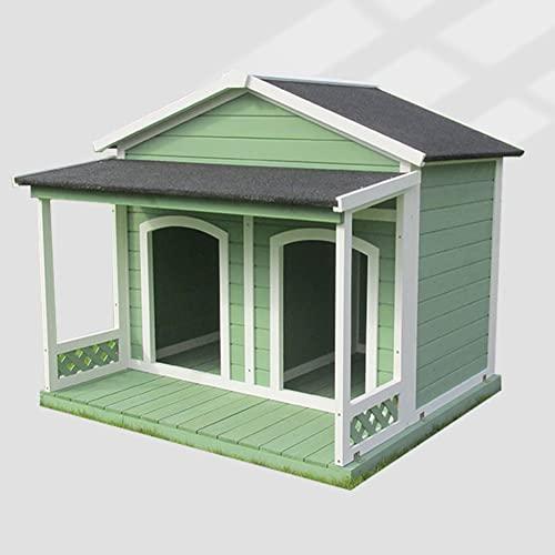DHYBDZ Casa para Perros de Madera con Aislamiento de Doble Espacio para 2 Perros, Refugio Grande Impermeable para Mascotas con balcón, caseta de Troncos al Aire Libre para Patio de jardín