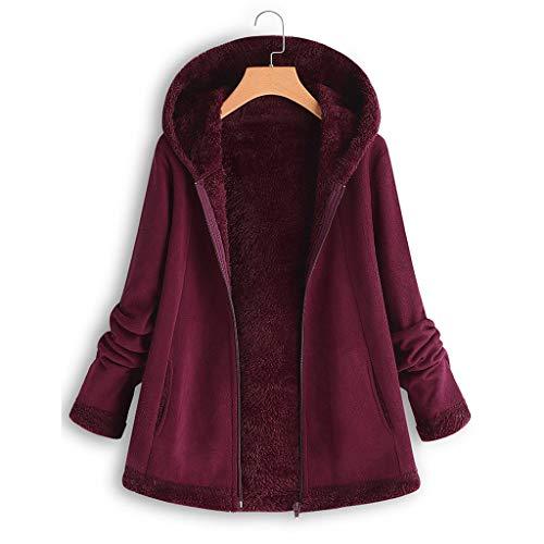 iHENGH Damen Herbst Winter Bequem Mantel Lässig Mode Jacke Frauenmode Winter Tasche Reißverschluss Langarm Plüsch Hoodie Mantel