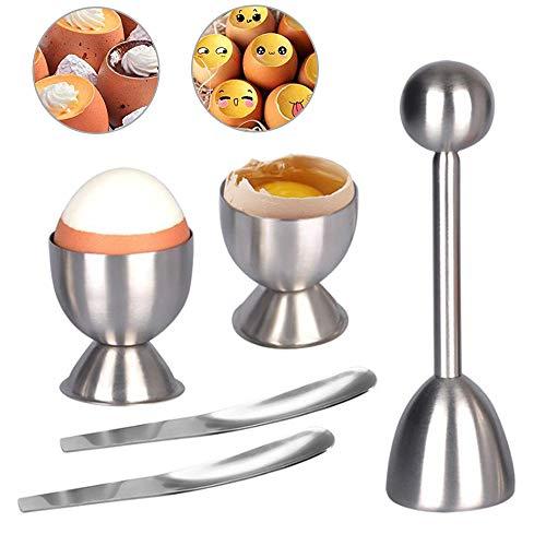 Seully Eieröffner aus Edelstahl, Eierschäler/Eieröffner/Eiertrennhalter, Küchenwerkzeug aus Edelstahl zum Frühstück, Eierschalenöffner Weich und Hart Gekochte Eier, 2 Eierbecher und 2 Löffel
