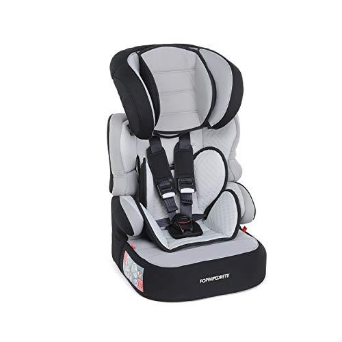 Foppapedretti Babyroad - Seggiolino Auto, Gruppo 1-2-3 (9-36 Kg) per Bambini da 9 Mesi a 12 Anni Circa, Nero (Carbon)
