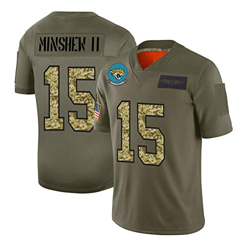 # 15 Minshew Ii Jaguars Rugby-Trikot, Unisex-Spielpoloshirt, Besticktes Sportswear-T-Shirt, Camouflage-M