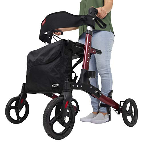 Vive Rollator Walker - Folding 4 Wheel Medical Rolling Walker with Seat & Bag - Mobility Aid for Adult, Senior, Elderly & Handicap - Aluminum Transport Chair (Red)
