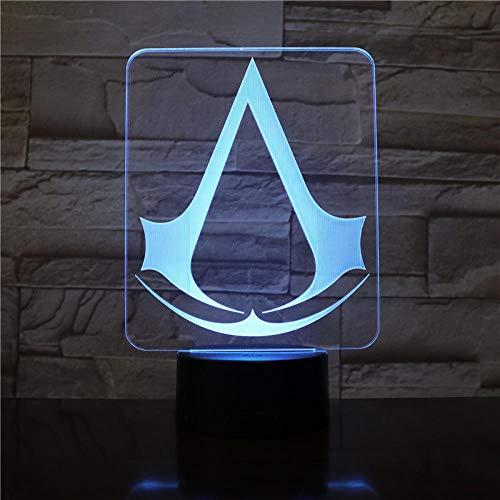 Assassins Creed Game Logo 3D Night Light Gift Para Niños Decoración Del Dormitorio Cambio De Color Sala De Estudio Led Night Light Lamp