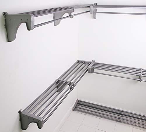 EZ Shelf - DIY Walk-in Closet Kit - Expandable to 30.8 ft Hanging & Shelf Space - NO Cutting - Silver