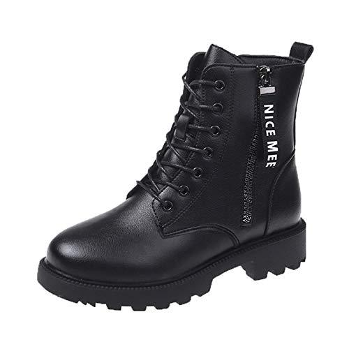 Botines Mujer Combat Boots Botas Piel Negras Combate - Botas de tobillo para mujer Señora Botas con Cordones Antideslizante Corto Botas con Cremallera Lateral Zapatos Moda Otoño Invierno Comodos