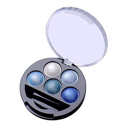 ZYCX123 5 Brillo de los Colores de Sombra de Ojos en Polvo metálico Brillo Paleta de Sombra de Ojos - Azul metálico Muy asequibles y útiles de los cosméticos