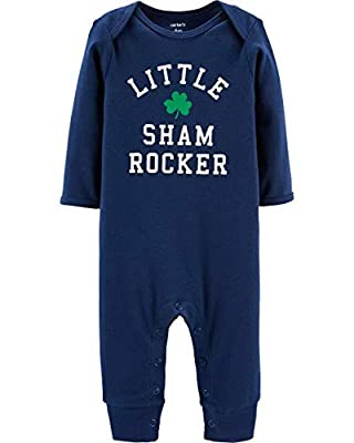 Carter's Unisex Baby St. Patrick's Day Jumpsuit (3 Months, Navy/Green)