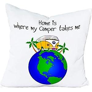 Cadouri Kissen HOME IS WHERE MY CAMPER TAKES ME Dekokissen Kuschelkissen ︎ flauschig weich ︎ 40 x 40 cm