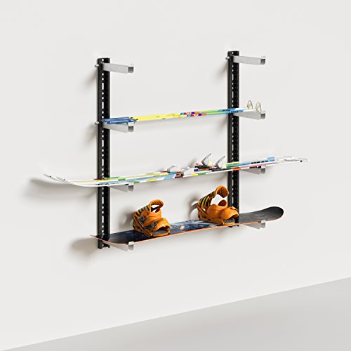 Coppia di Staffe per Fissaggio a Muro - Ideali per Sostenere Mensole, Attrezzatura da Giardino, Sci e Tavole da Snowboard - Portata Massima 100 kg