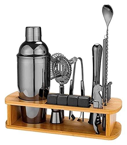 Bartender Kit con soporte – Juego de coctelera de acero inoxidable con herramientas de barra de acero inoxidable, hogar, bares, fiestas y viajes LingGe